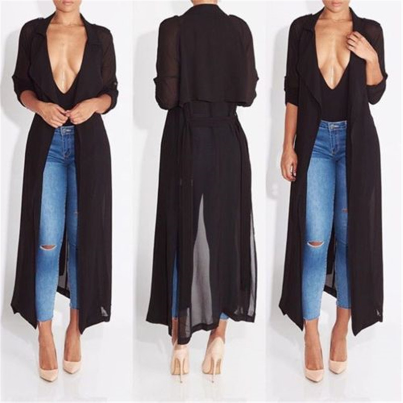 Women Ladies Slinky Maxi Duster  Trench Coat Belted Celeb Waterfall Coat