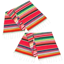 HOT 2 Pack 14 By 84 Inch Mexican Table Runner 14 x 84 Inch Mexican Party Wedding Decorations Fringe Cotton Serape Blanket Table