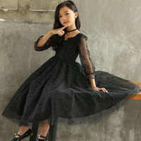 Long Gowns Teen Kids Black Dress Girls 2019 Dot Ball Gown Childrens Dresses Party Tulle Baby Girl Clothing Formal Dress Autumn