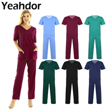 2Pcs Unisex Adults Medical Doctor Nursing Scrubs Costume Uniform Sets V-neck Short Sleeves Tops with Elastic Waisted Long Pants