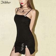 Nibber femminile senza maniche backless gotica mini vestito da estate 2020 donne di modo nero sexy aderente hollow out vestiti del partito(China)