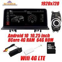 """10.25 """"أندرويد 10 سيارة لتحديد المواقع والملاحة لسيارات bmw e90 E91 E92 واي فاي 4G بلوتوث راديو USB SD عجلة القيادة id5v خريطة مجانية"""