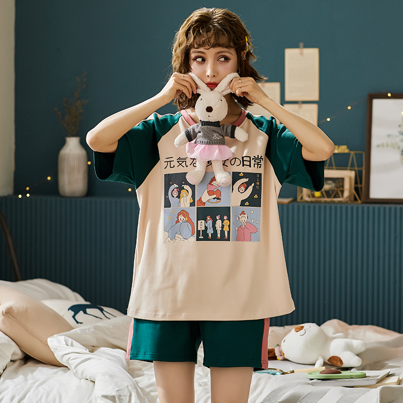BZEL Short Sleeve Shorts Sleepwear Soft Cotton Women's Pajama Set Cartoon Ladies Nightwear Summer Underwear Female Pijama Pyjama
