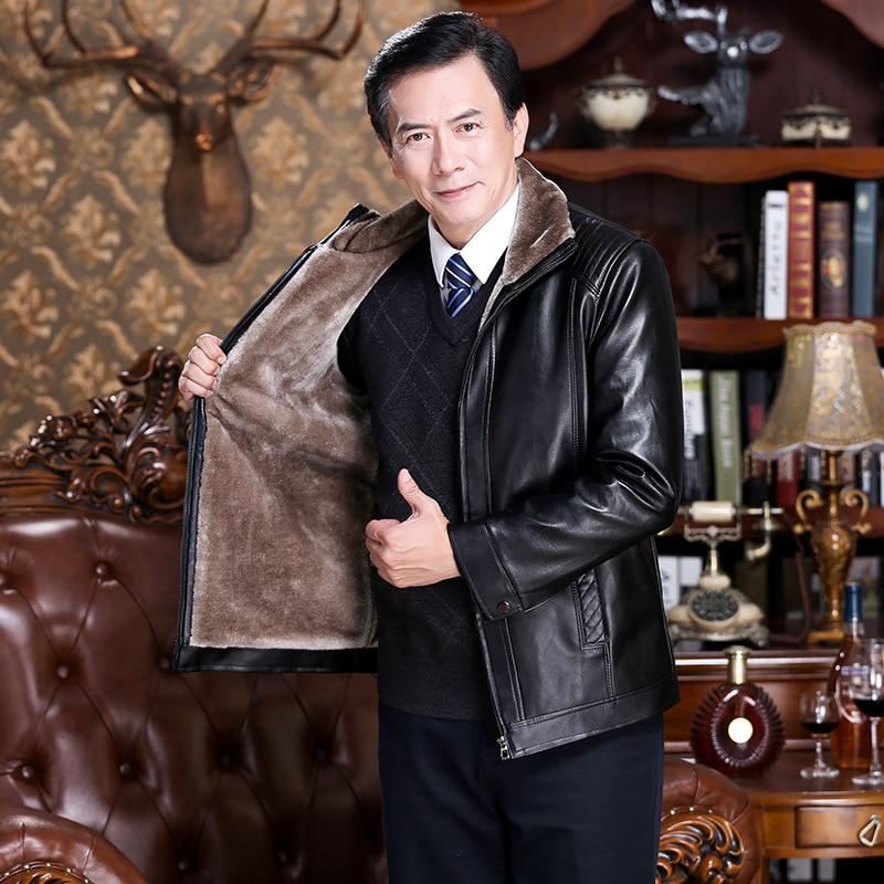 Middle-aged Fur Men PU Leather Men'S Wear Haining Autumn And Winter Plus Velvet Leather Jacket Dad Leather Coat Coat