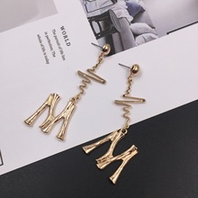 long letter M earrings personality creative  temperament african jewelry korean