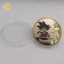 DBZ01 Anime Goku Filho-de-Bejita-Bulma-Torankusu-Kuririn Cor Banhado A Ouro Coin