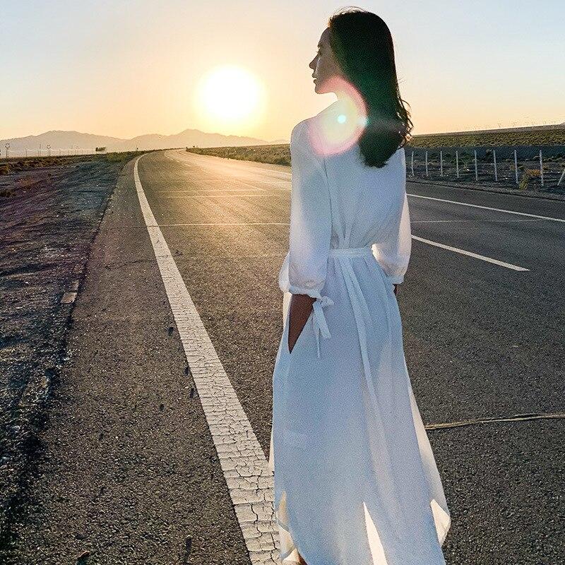Women Clothing Long Sleeve Maxi Dress Oversized Kaftan Shirt Dress Plus Summer 2019
