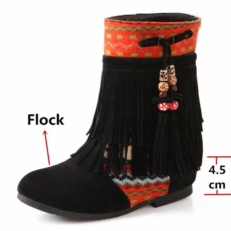 FEDONAS Vintage saçak kadın yüksekliği artan balo parti ayakkabıları kadın kış sıcak akın kadın yarım çizmeler tatlı kısa çizmeler