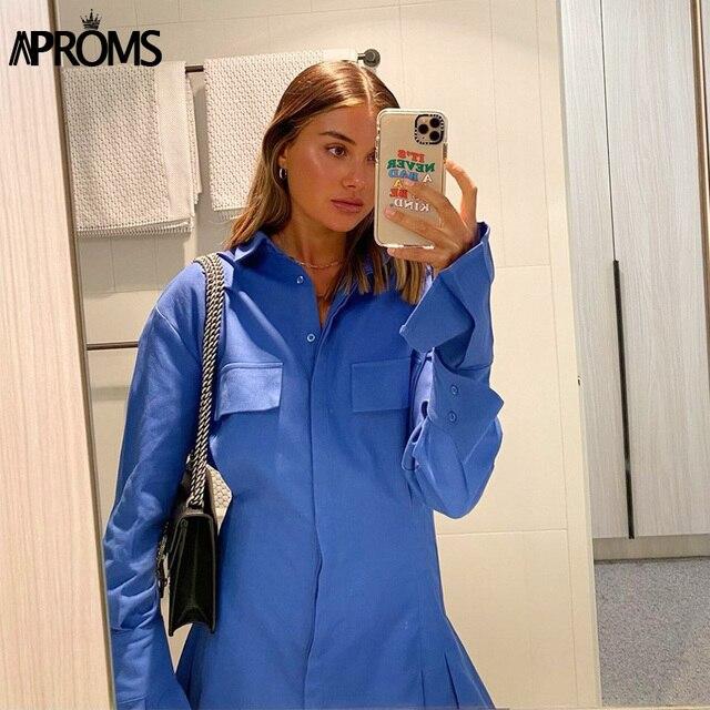 Blue Cotton Shirt Flared Sleeve dress 1