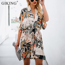 GIKING V-neck Summer Dress Women 2019 Floral Print Casual Shirt Short Sleeve Boho Style Party Dresses With Belt Vestidos