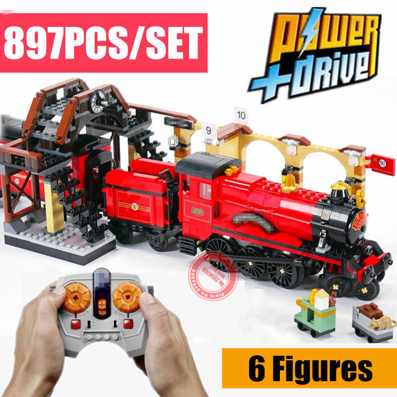 New MOC RC Motor Power Functions Express Train Station Fit Legoings Technic Figures Building Block Brick 75955 Toys Kid Gift