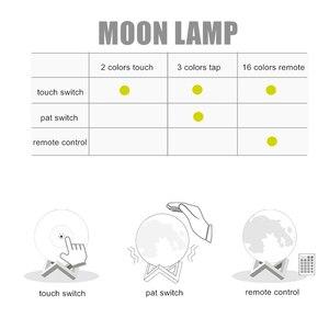 Светодиодный ночник с 3D-принтом Moon Lamp, затемняемый сенсорный/Pat/дистанционный переключатель, перезаряжаемая прикроватная настольная лампа,...