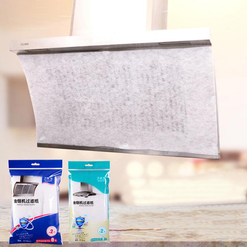 2 Pcs Home Range Hood Anti Filter Stickers Absorption Paper Fume Paper Clean Cooking Nonwoven Range Hood Filter Kitchen Tools