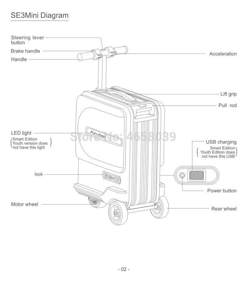 Nova equitação elétrica mala saco de viagem