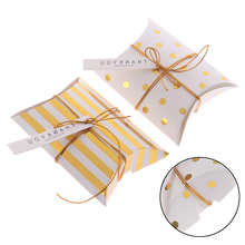 10pcs Promotion Pillow Shape Kraft Jewelry Candy Box Craft Paper Wedding Favor Gift Boxes Pie Party Box Bags