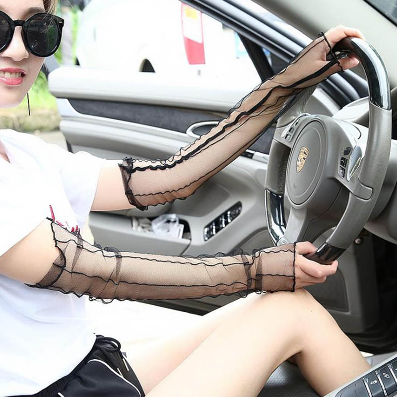 Calymel Women's Spring And Summer Driving Gloves Lady's Sunscreen Sleeves Sexy Lace Glove Long Fishnet Gloves Sleeves