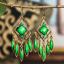 Ethnic Style Bohemian Earrings 2020 Women Vintage Geometric Resin Gem Tassel Earrings Factory Direct Selling pair of graceful faux gem rivet geometric earrings for women