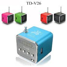 TD-V26 Mini Speaker Portable Micro SD TF Card USB Disk Stereo Loudspeaker for DVD Laptop