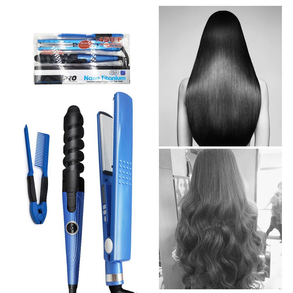 1 1/4 High Quality Hair Straightening Irons Hair Styling Tools Nano Titanium Plates Professional Hair Straightener Curlers Set
