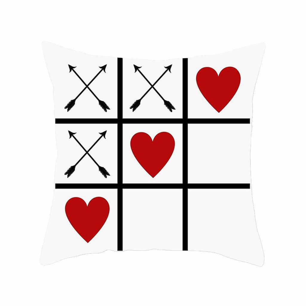 Merah dan Hitam Natal Buffalo Check Kotak-kotak Bantal Valentine 'S Day (Hari Valentine) Polyester Sarung Bantal Sarung Bantal untuk Dekorasi Rumah