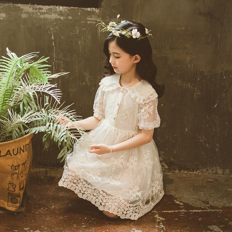 Летнее платье для девочки новинка 2020 белое Сетчатое кружевное