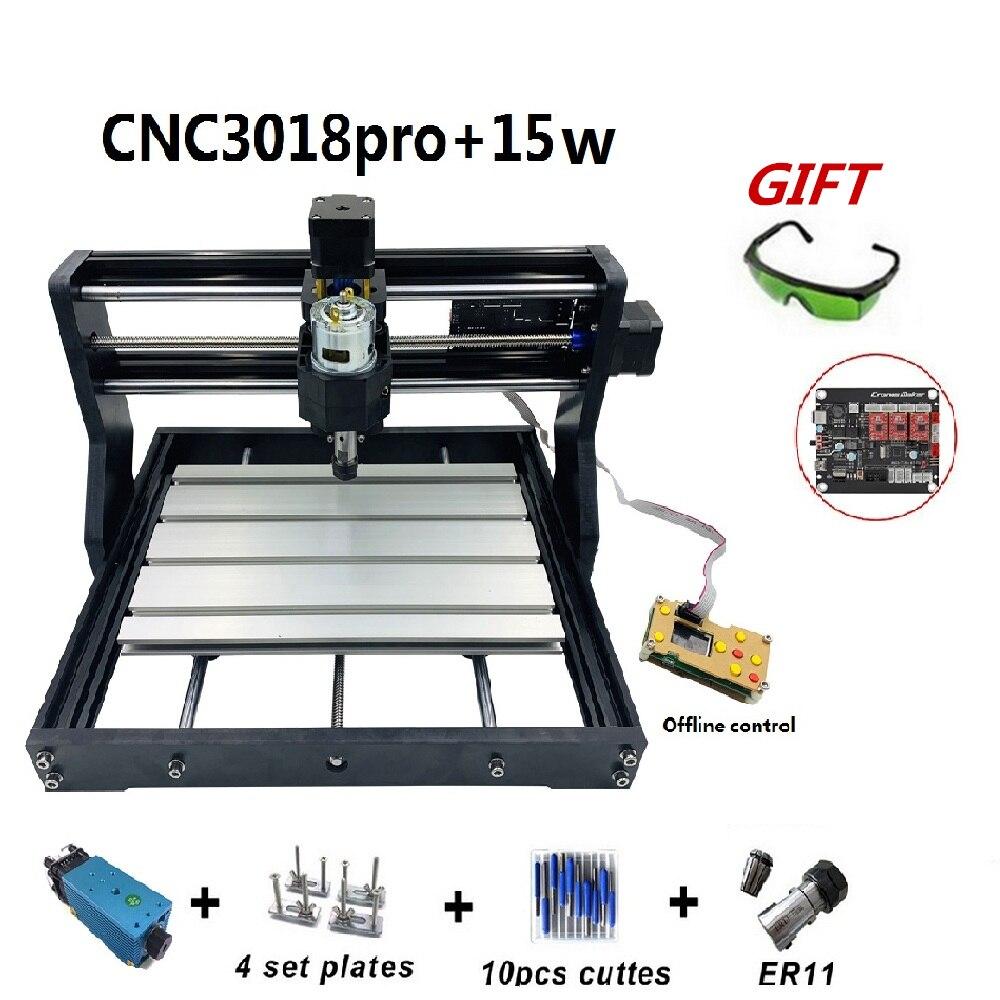 15W CNC3018 Pro Máquina de Gravura com o offline Controle 500mw 2500mw 5500mw Cabeça Madeira Router Fresadora PCB carving máquina de 3018 PRO