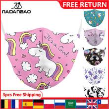 NADANBAO śliczna maska drukuj różowa kreskówka ze wzorem jednorożca dla dzieci maski dla dorosłych maska wielokrotnego użytku tkanina śliczna osłona na usta zmywalna tanie tanio Poliester spandex NONE Chin kontynentalnych WOMEN Cartoon