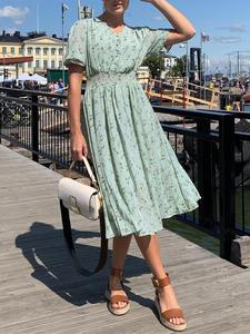 Dress Summer Short-Sleeve Smock Vestidos A-Line Floral-Print Beavant V-Neck Elegant Women