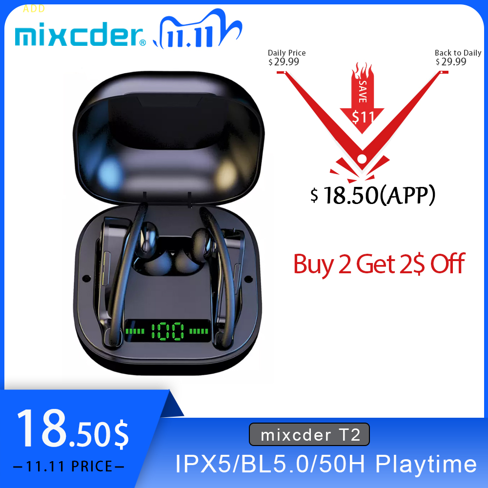 Mixcder T2 TWS Earphone Earhook Bluetooth5 0 100mA Wireless Inear Headphone Waterproof Sport Earbuds With Led Display Microphone
