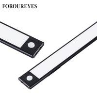 Iluminación ultradelgada para armarios de cocina, luz LED de 40cm con USB, 3 modos de Sensor de movimiento PIR, recargable, de aluminio negro