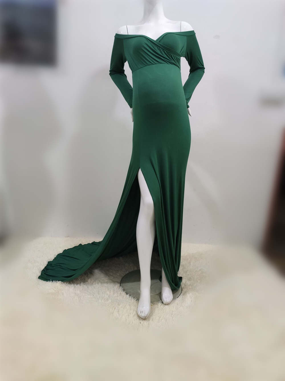 Sexy Shoulderless Maternity Dresses For Photo Shoot Maxi Gown Split Side Women Pregnant Photography Props Long Pregnancy Dress (8)
