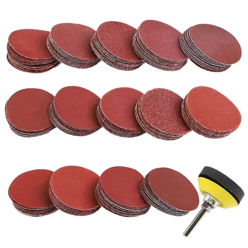 140Pcs 2 Inch Sanding Discs Pad Kit For Drill Grinder Rotary Tools With 1/4 Inch Backer Plate Shank And Soft Foam Buffering Pad