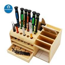 متعددة الوظائف صندوق تخزين خشبي مفك مجموعة أدوات إلكترونية حاوية Tweezers مسامير كاشطات تخزين اللوحات الأم