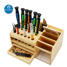 Multi Functional Wooden Storage Box Screwdriver Set Electronic Tools Container for Tweezers Screws Scrapers Motherboards Storage