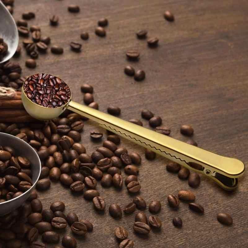الفولاذ المقاوم للصدأ فنجان القهوة مغرفة مع المحمولة حقيبة مشبك عازل الشاي قياس مغرفة متعددة الوظائف المطبخ قياس لوازم للحليب