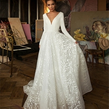 V-Neck Wedding-Dresses Long-Sleeves Elegant Princess Robe-De-Mariage Plus-Size White/ivory