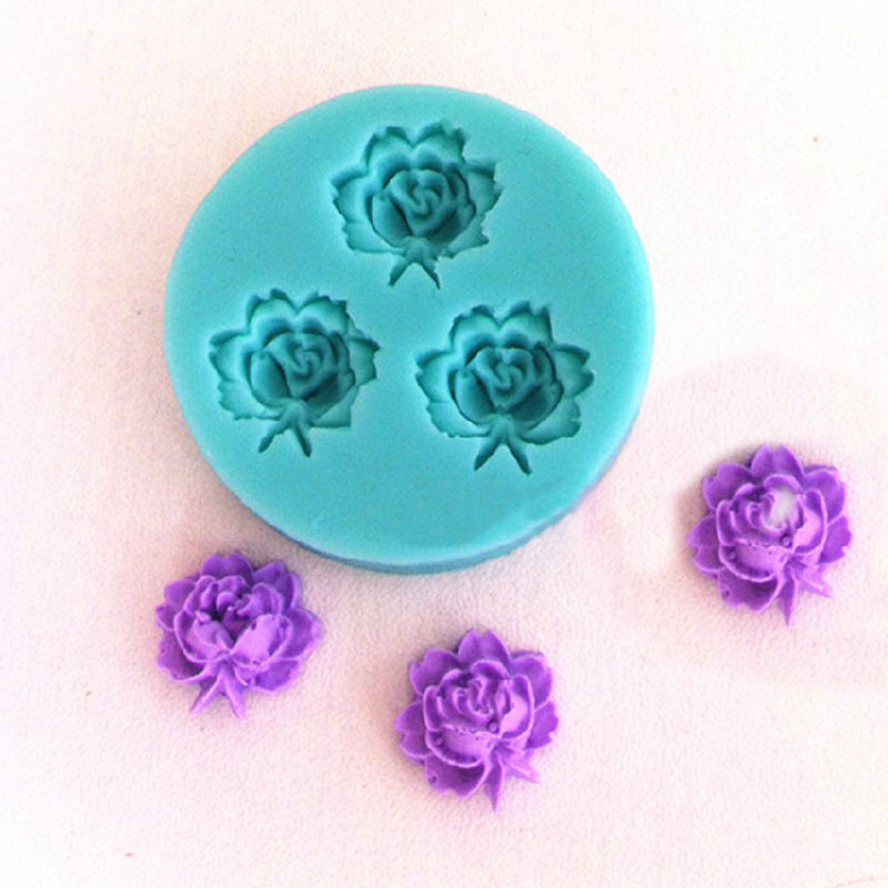 Tiny Small Size 3D Rose Flowers Fondant Cake Cookie Chocolate Soap Mold Cutter Modelling Tools Random Color 4.8*4.8cm HG-1249