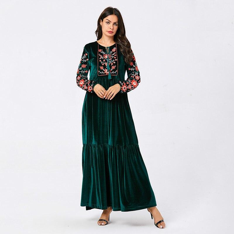 Velours longue robe d'hiver pour les femmes Chic Vintage à fleurs broderie ethnique gland Maxi robes bleu grande taille automne 2019 Sukienki