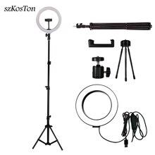 Светодиодный кольцевой светильник для селфи, 26 см/16 см, светильник для фотостудии с регулируемой яркостью, заполняющая лампа для фотографии в реальном времени, со штативом, держателем для телефона