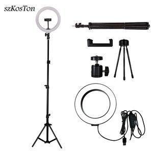 Image 1 - LED Selfie Ring Licht 26cm/16cm Kamera Foto Studio Licht Dimmbare Fotografie Füllen Lampe Für Live Video mit Stativ Telefon Halter