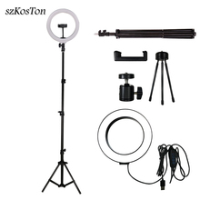 LED Selfie Ring Light 26cm/16cm Camera Photo Studio Light Dimmable Photography Fill Lamp For Live Video With Tripod Phone Holder