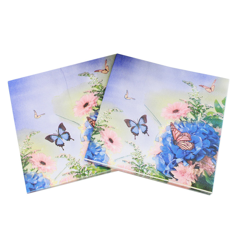 [Currently Available] Color Printed Napkin Butterfly Printed Napkin Handmade Creative Decoration Paper