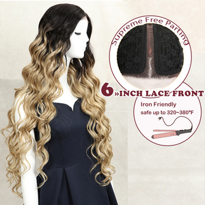 Magic 42inch Synthetic Lace Front Wig Deep Wavy Wig For Woman Long Hair Wigs Black 613 Blonde Lace Front Wig Heat Resistant Hair