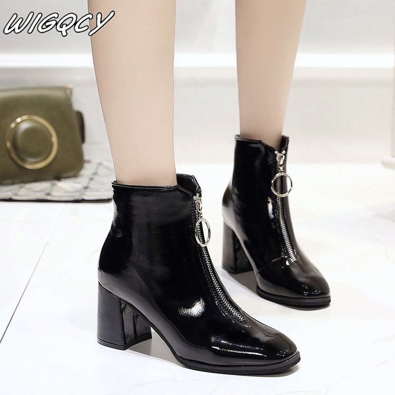 2019 Brand Zipper Boots Woman Front Big Zipper Open Botas Mid-Calf Botines Winter Thick High Heels Patent Leather Martin Booties