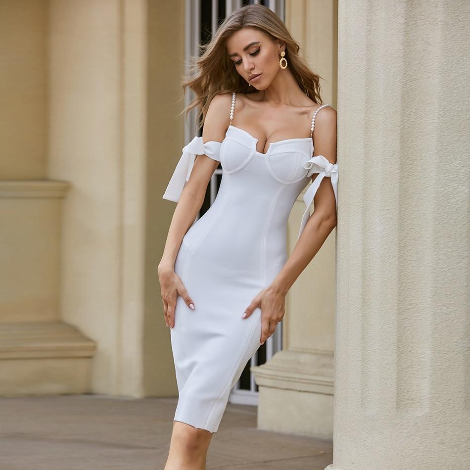 ADYCE 2020 New Summer Off Shoulder Bandage Dress Sexy Spaghetti Strap Short Sleeve Bodycon Club Celebrity Evening Party Dresses