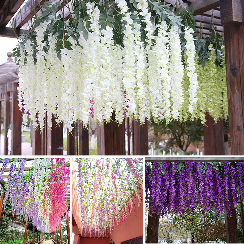 6Pcs Wisteria Artificial Flower Rattan Wreath Arch Wedding Home Garden Office Decoration pendant Plant Wall Decoration