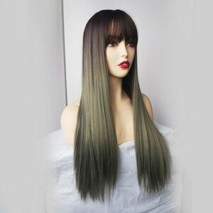 Image 2 - Bangs와 긴 스트레이트 합성 가발 Ombre 갈색 녹색 자연 머리 가발 여성을위한 코스프레 가발 내열성 섬유 가발
