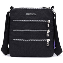 Multiple zip pocket, Women Messenger Bag Nylon Female Shoulder small bags Girls Brand Bags Ladies Purses Crossbody