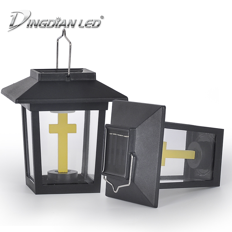 Solar Outdoor Small Palace Lantern Rainproof LED Garden House Holloween Cemetery Ritual Energy Saving Decoration Flameless Led
