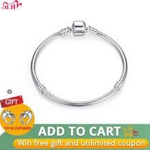 Pulsera con cadena de serpiente para mujer, brazalete de plata de ley 100% auténtica, regalo de Navidad, joyería WEUS902
